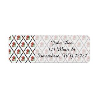Tri Color Roses Wallpaper Pattern Return Address Label