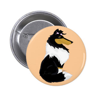 Tri-color Rough Collie Cartoon Button
