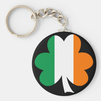 Tri-color Shamrock Basic Round Button Key Ring