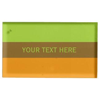 Tri-color stripes custom table card holder