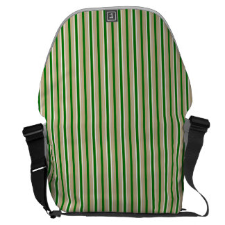 Tri-color Stripes in Christmas Green, Gold Silver Courier Bags