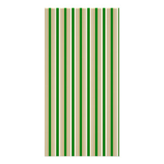 Tri-color Stripes in Christmas Green, Gold Silver Photo Cards