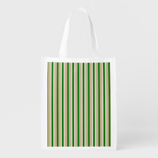Tri-color Stripes in Christmas Green, Gold Silver Grocery Bag