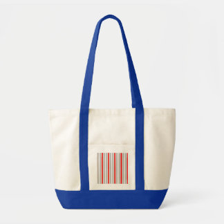 Tri-Color Stripes in Christmas Red Gold and Silver Tote Bag