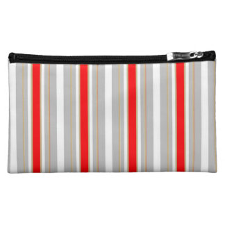 Tri-Color Stripes in Christmas Red Gold and Silver Makeup Bags