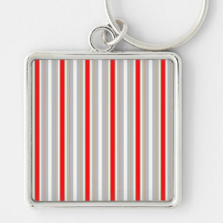 Tri-Color Stripes in Christmas Red Gold and Silver Keychain