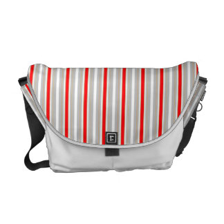 Tri-Color Stripes in Christmas Red Gold and Silver Courier Bag