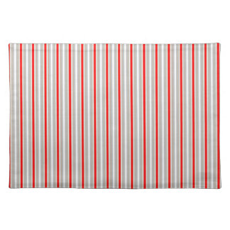 Tri-Color Stripes in Christmas Red Gold and Silver Cloth Placemat