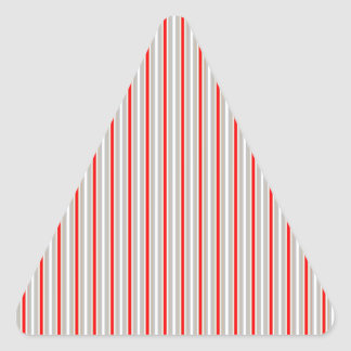 Tri-Color Stripes in Christmas Red Gold and Silver Triangle Sticker