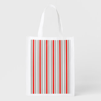 Tri-Color Stripes in Christmas Red Gold and Silver Reusable Grocery Bags