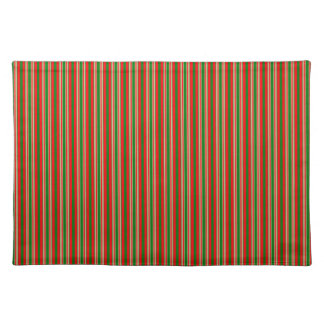 Tri-Color Stripes in Christmas Red, Green & Gold Cloth Place Mat