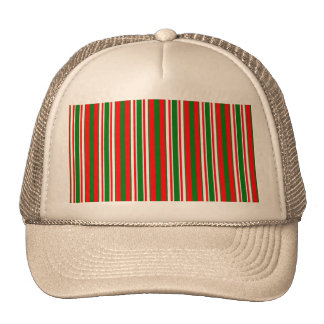 Tri-Color Stripes in Christmas Red, Green & White Cap