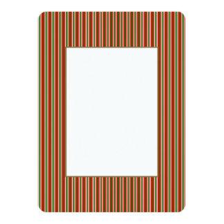 Tri-Color Stripes in Christmas Red, Green & White 14 Cm X 19 Cm Invitation Card