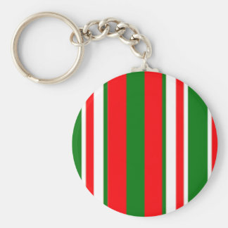 Tri-Color Stripes in Christmas Red, Green & White Key Chains