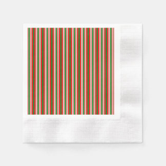 Tri-Color Stripes in Christmas Red, Green & White Paper Napkins