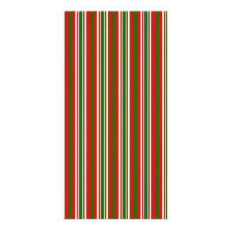 Tri-Color Stripes in Christmas Red, Green & White Custom Photo Card