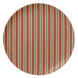 Tri-Color Stripes in Christmas Red, Green & White Party Plate