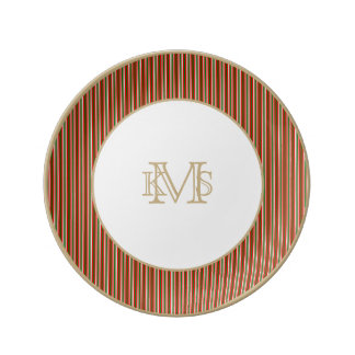 Tri-Color Stripes in Christmas Red, Green & White Porcelain Plates
