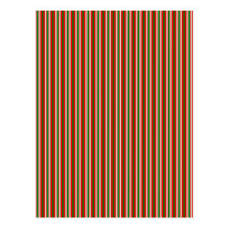 Tri-Color Stripes in Christmas Red, Green & White Postcard
