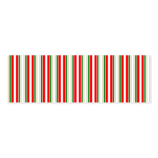 Tri-Color Stripes in Christmas Red, Silver & Green Business Cards