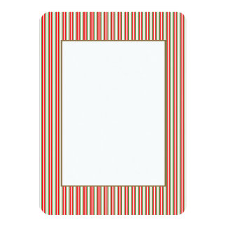 Tri-Color Stripes in Christmas Red, Silver & Green Personalized Invitation Cards