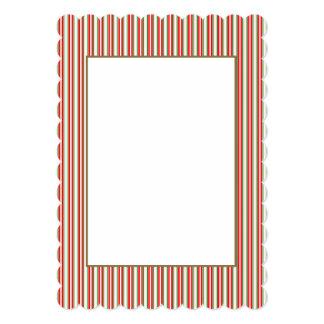 Tri-Color Stripes in Christmas Red, Silver & Green 13 Cm X 18 Cm Invitation Card