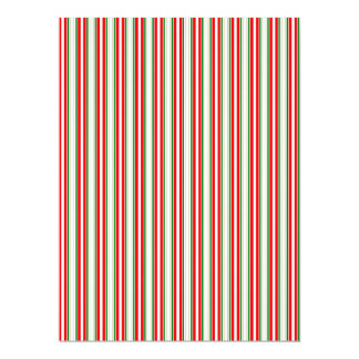 """Tri-Color Stripes in Christmas Red, Silver & Green 6.5"""" X 8.75"""" Invitation Card"""