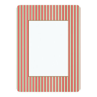 Tri-Color Stripes in Christmas Red, Silver & Green Personalized Invitations