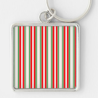 Tri-Color Stripes in Christmas Red, Silver & Green Keychain