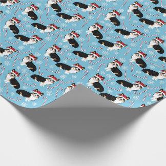 tri colored corgi wrapping paper