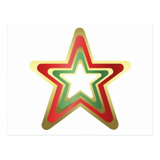 Tri Colored Holiday Star Postcards