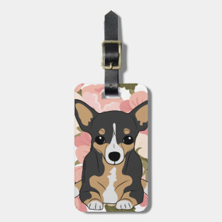 Tri-Colour Chihuahua Pink Poppy Flowers Floral Luggage Tag