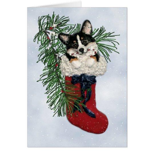 Tri-Colour Corgi in Christmas Stocking Card