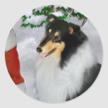 Tri-Colour Rough Collie Christmas Gifts Round Sticker
