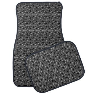 Tri cubic grey black graphic art pattern car mats