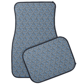 Tri cubic grey blue graphic art patterned car mats