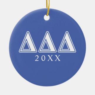 Tri Delta Yellow Letters Christmas Ornament