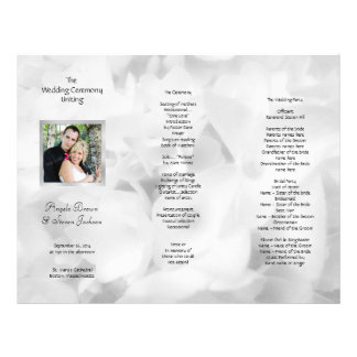 Tri-fold Black and White Photo Wedding Program 21.5 Cm X 28 Cm Flyer