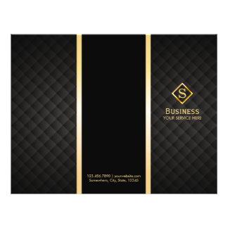 Tri-Fold Gold Diamond Monogram Elegant Brochures 21.5 Cm X 28 Cm Flyer