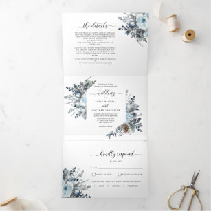 Tri-Fold Invitation with RSVP Blue Floral Wedding