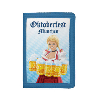 Tri-Fold Nylon Wallet Oktoberfest Beer Waitress