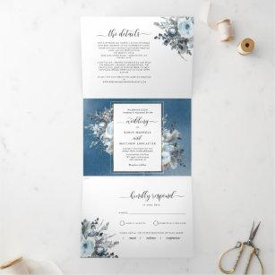 Tri-Fold Wedding Invitation with RSVP Blue Floral