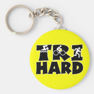 Tri Hard Basic Round Button Key Ring