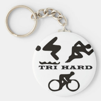 Tri Hard Triathlon Gifts Clothing and Accessories Basic Round Button Key Ring
