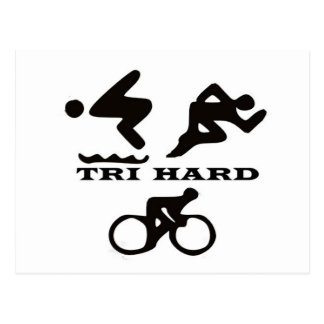Tri Hard Triathlon Gifts Clothing and Accessories Postcard