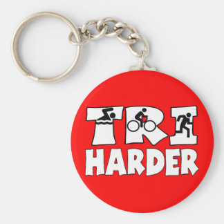 Tri Harder Basic Round Button Key Ring