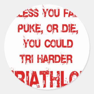 Tri Harder Round Sticker
