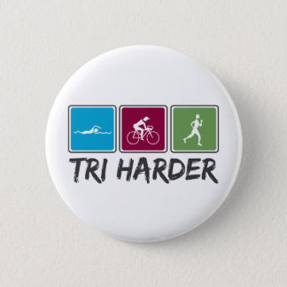 Tri Harder (Triathlon) 6 Cm Round Badge