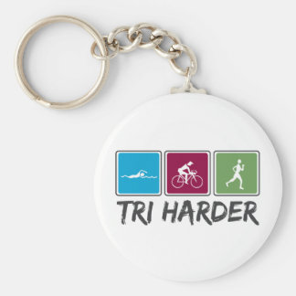 Tri Harder (Triathlon) Basic Round Button Key Ring
