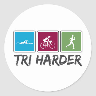 Tri Harder (Triathlon) Classic Round Sticker